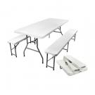 Összecsukható kerti asztal 2 paddal