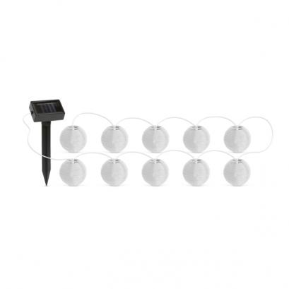 Szolár lampion fényfüzér - 10 db fehér lampion