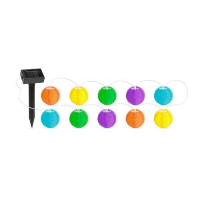 Szolár lampion fényfüzér - 10 db színes lampion